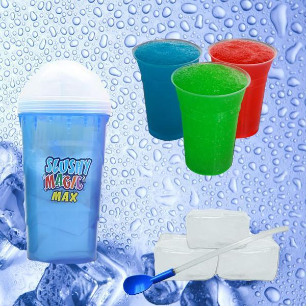 Kitchen - Slushy Magic Max: Instant Frozen Drink Maker With Reusable Ice Cubes & Spoon-Straw