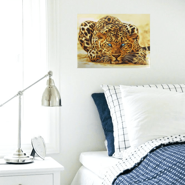 """Blue Eyed Leopard"" Metal Wall Decor Art With Pre-Drilled Holes"