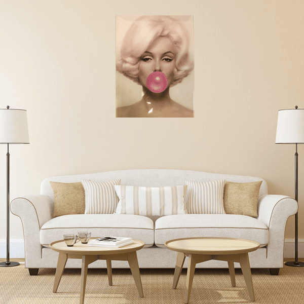 """Marilyn Monroe Bubble Gum"" Vintage Metal Wall Decor Art"