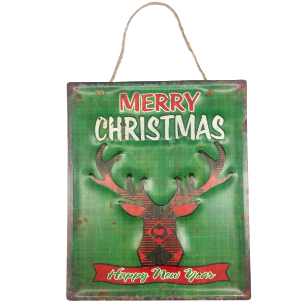 """Merry Christmas and A Happy New Year"" Reindeer Metal Sign Holiday Decor Piece"