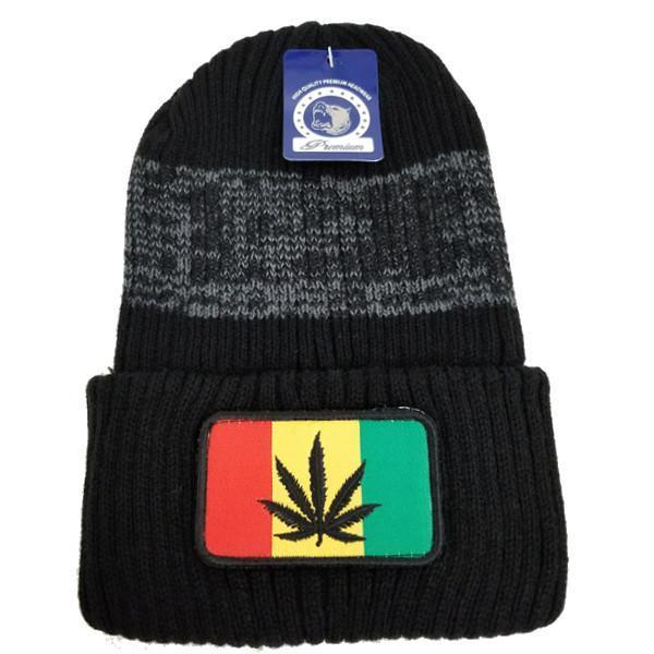 Unisex Beanie Hat With Weed And Flag Removable Patch Cannabis Marijuana knitted One Size Fits Most