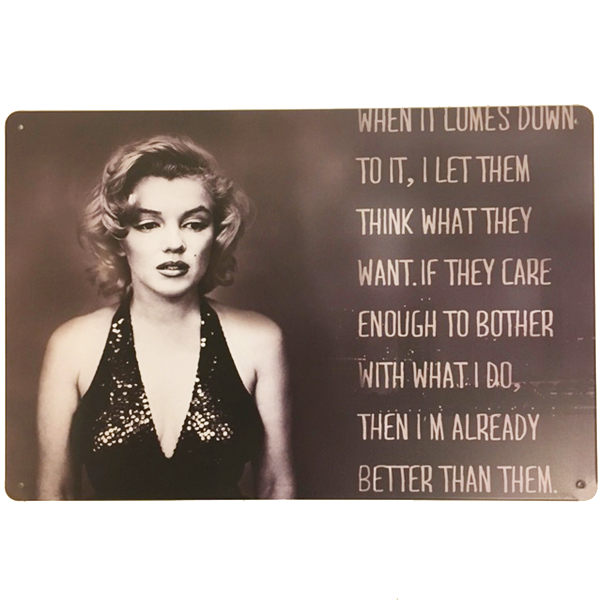 """Marilyn Monroe With Quote"" Vintage Collectible Metal Sign Wall Art Decor With 4 Pre-drilled Holes"