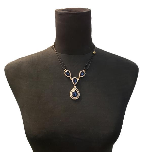 Princess Style Blue Sapphire Teardrop Necklace