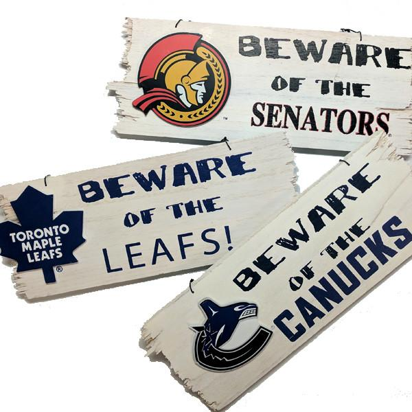 "NHL - NHL Officially Licensed Wooden ""Beware"" Sign - Assorted Teams"