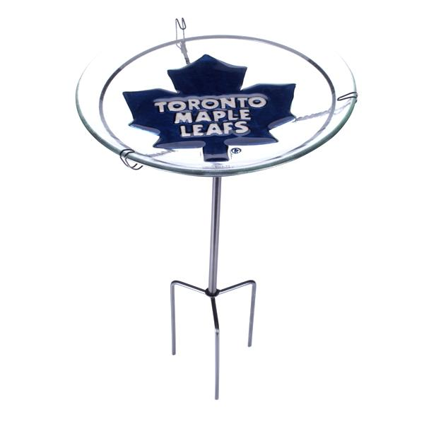 NHL - Toronto Maple Leafs Officially Licensed Glass Bird Bath With Metal Stake Set