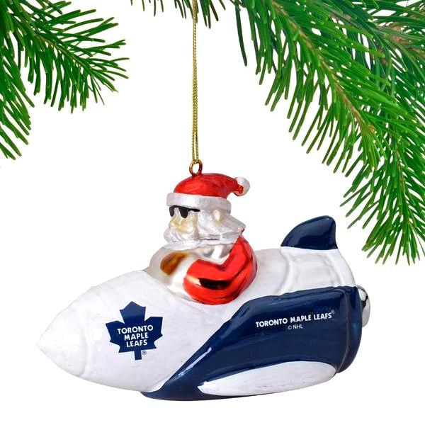 NHL - Toronto Maple Leafs Officially Licensed Santa Gets There Rocket Ornament