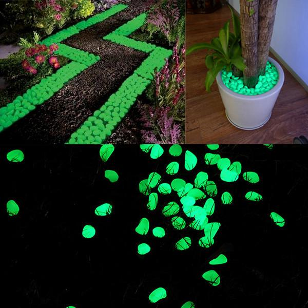 Outdoor - 100 Pack: Glow-In-The-Dark Fluorescent Garden Pebbles