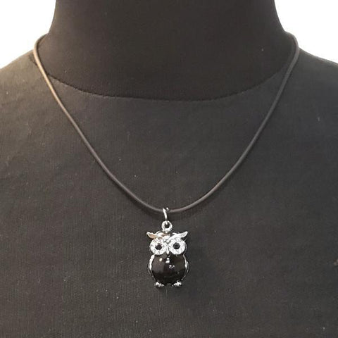 Black Owl Pendant On A Choker Style Nylon Chain
