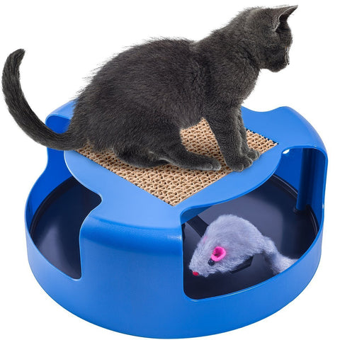 Pets - Cat & Mouse Motion Chase Toy With Scratch Pad