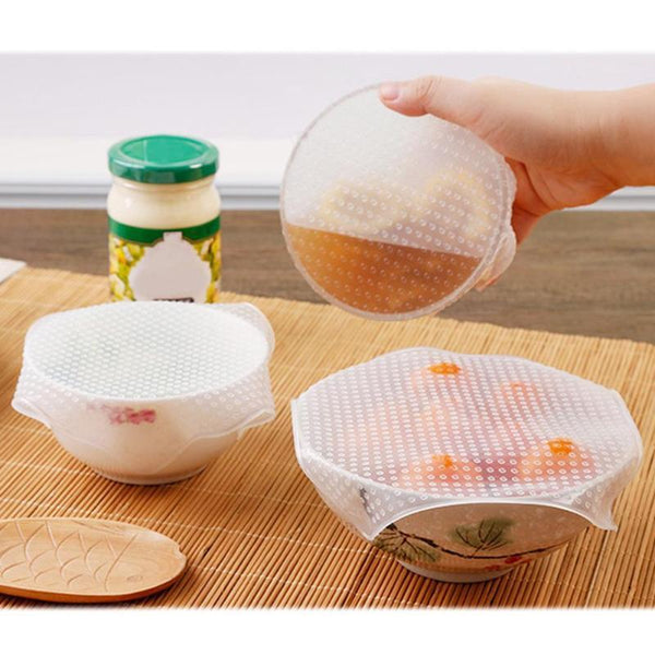 Set Of 4: Reusable Silicone Food Wrap