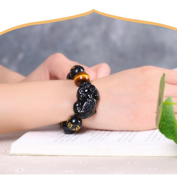 "Natural Obsidian Stone ""Wealth & Good Luck"" Charm Bracelet"