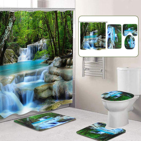 3D Shower Curtain & Bath Mat Set