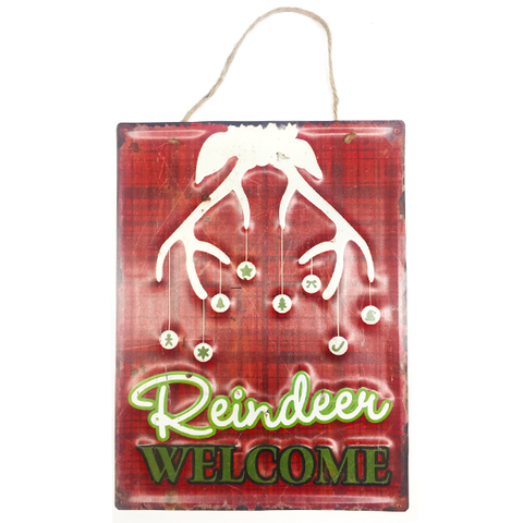 """Reindeer Welcome"" Holiday Metal Sign With Christmas Tree Hanging Wall Decor L 16"" X W 12"""