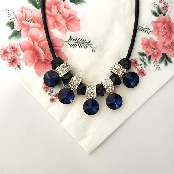 Elegant Crystal Blue Sapphire Necklace