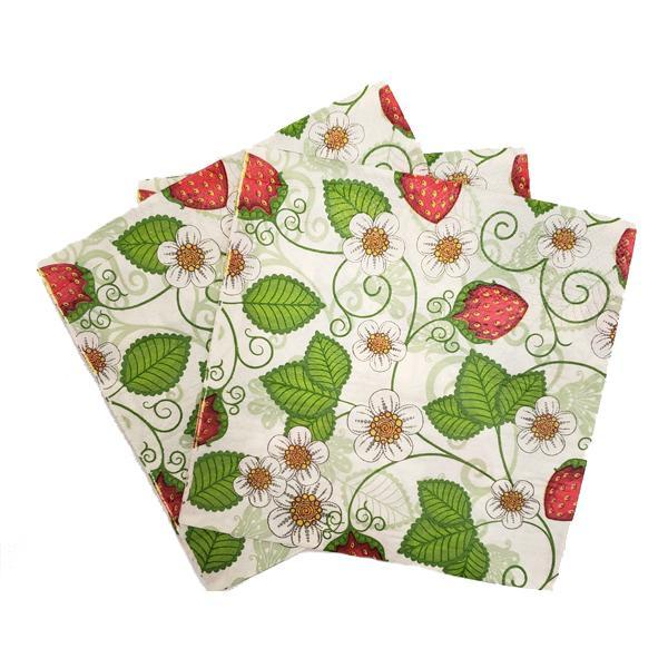 """Budding Strawberry"" Printed Disposable Table Napkin"