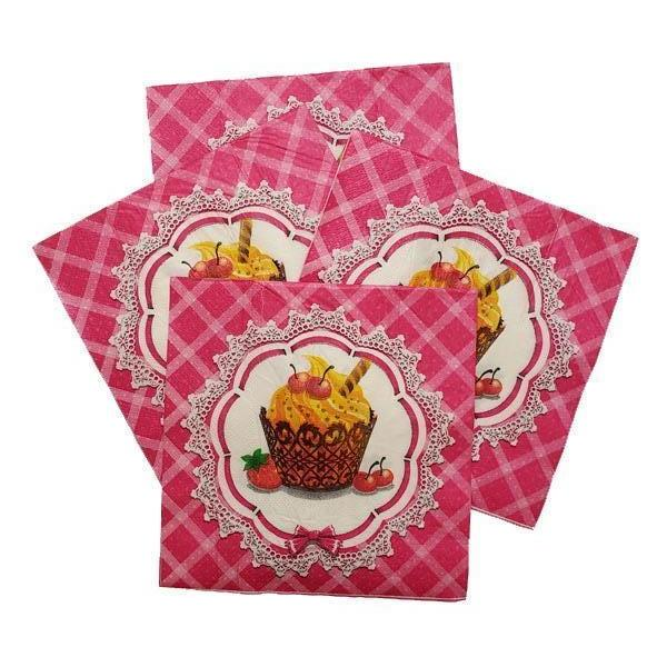 Cupcake Printed Disposable Table Napkin - Pack Includes 20 Sheets