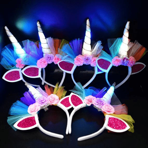 6 Pieces, 12 Pieces or 24 Pieces LED Light Up Unicorn Headbands