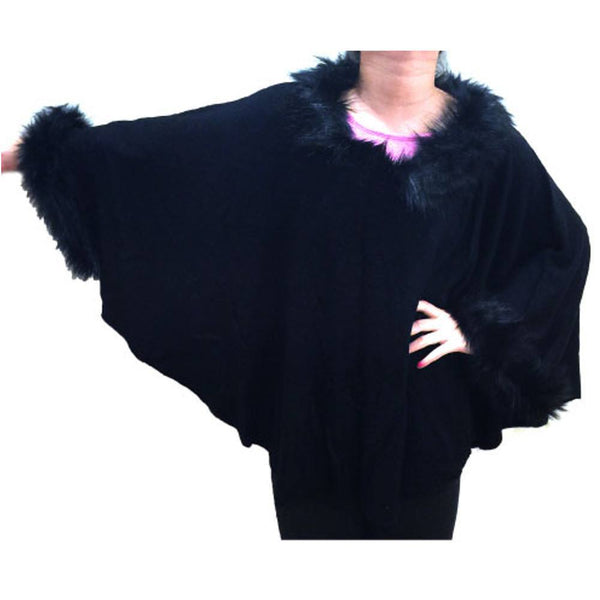 WINTER WEAR - Poncho W/ Imitation Fox Fur - #17192