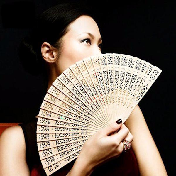 Women's Fashion - Carved Bamboo Folding Handheld Fan