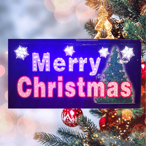 """Merry Christmas"" Festive LED Holiday Decor Sign"