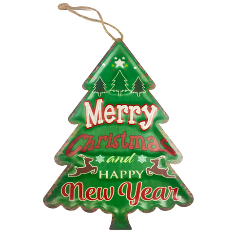 """Merry Christmas And A Happy New Year"" Christmas Tree Shaped Holiday Season Metal Decor With Rope"