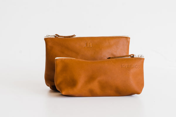 3 Letter Personalization - Leather Pouch Sets
