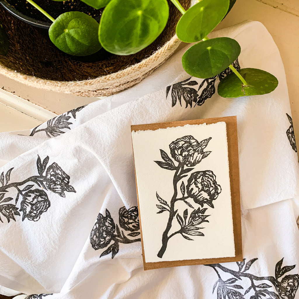 Peonies Tea Towel w/ Matching Card