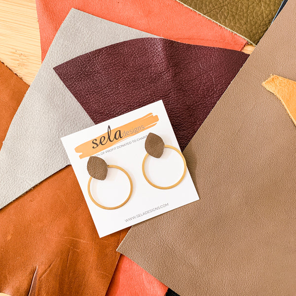 Reese Earring - Taupe Leather