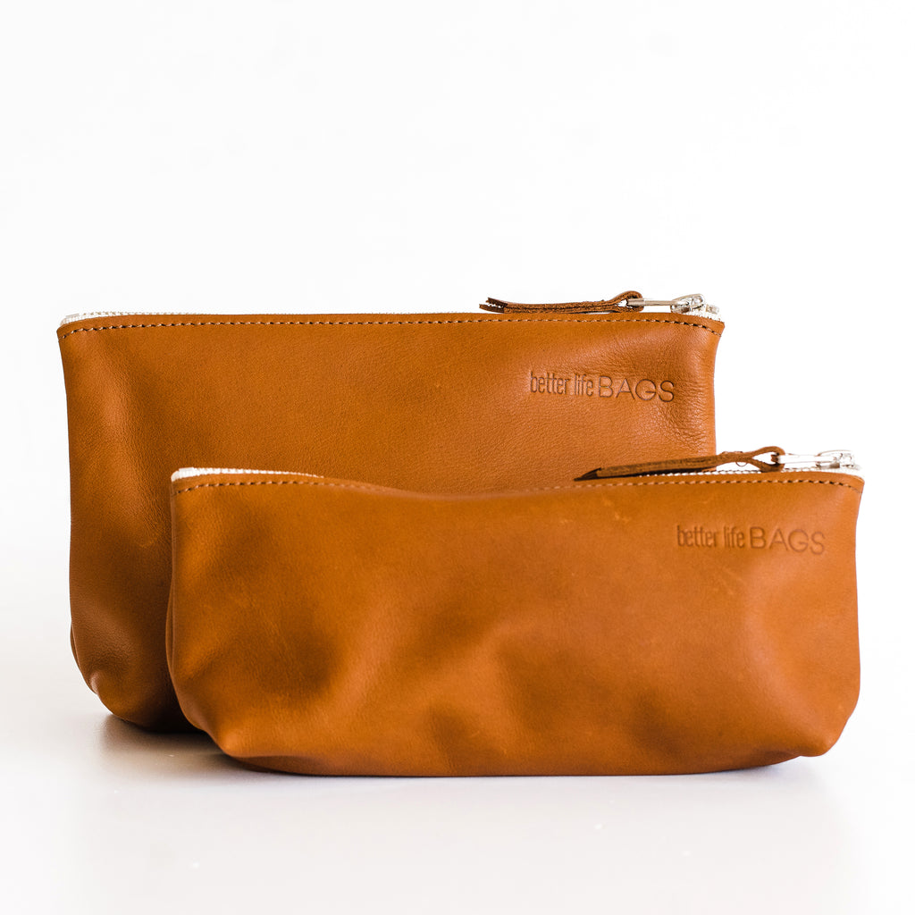 Leather Pouch Set - Brass Hardware