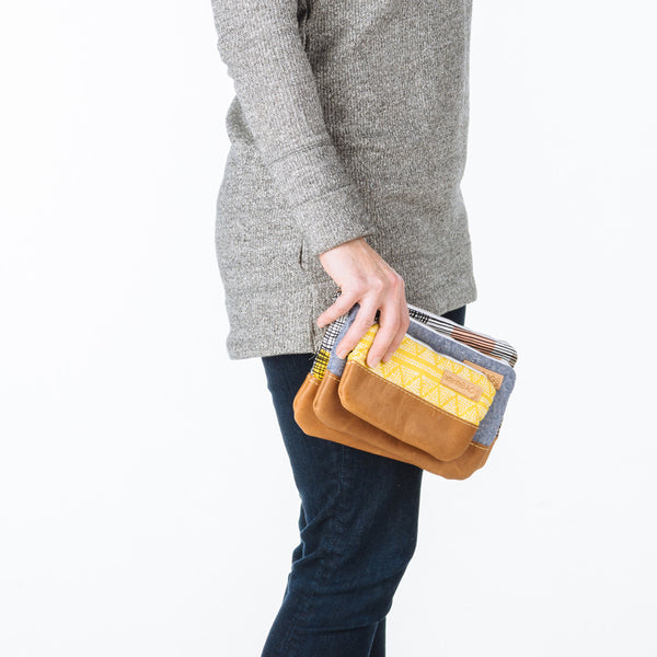 Nesting Pouches with Leather