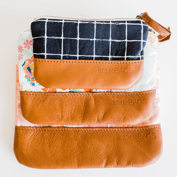 Nesting Pouches with Leather - Design Your Own (Ships by 11/2)