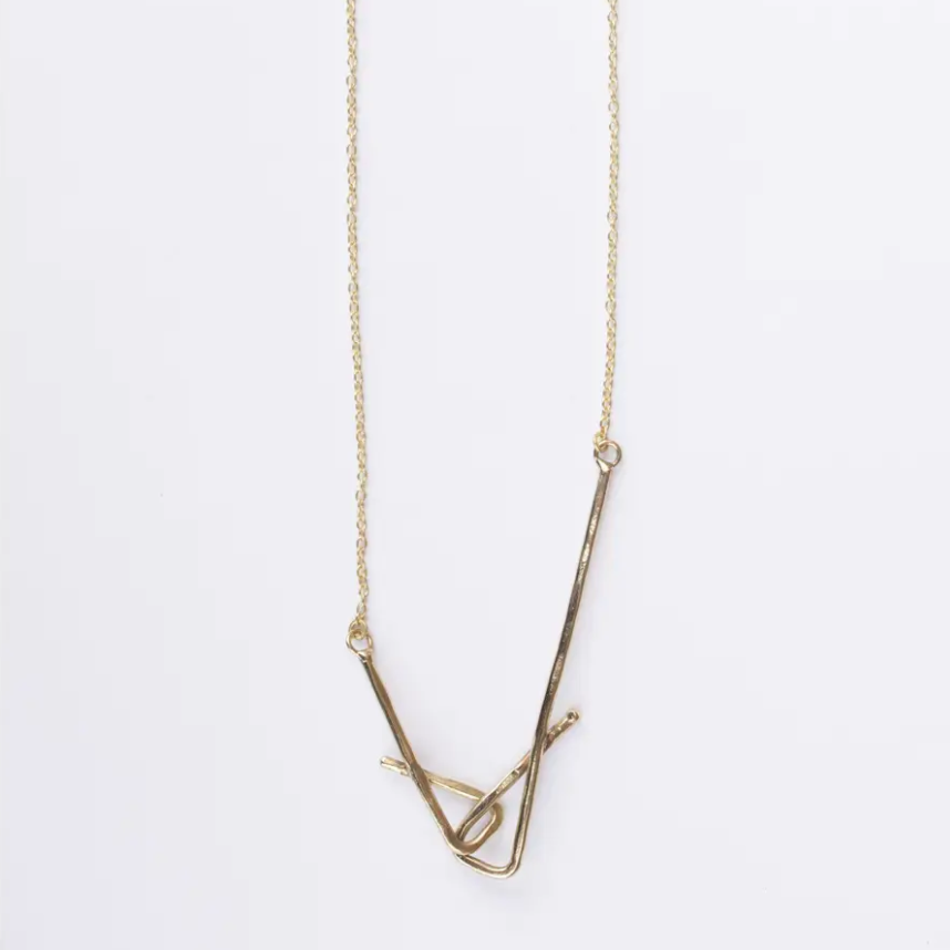 Gold Stretched Shapes Necklace