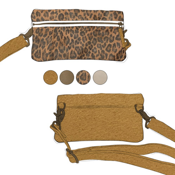 Fanny - Leopard and Camel Leather (Ships by 6/29)