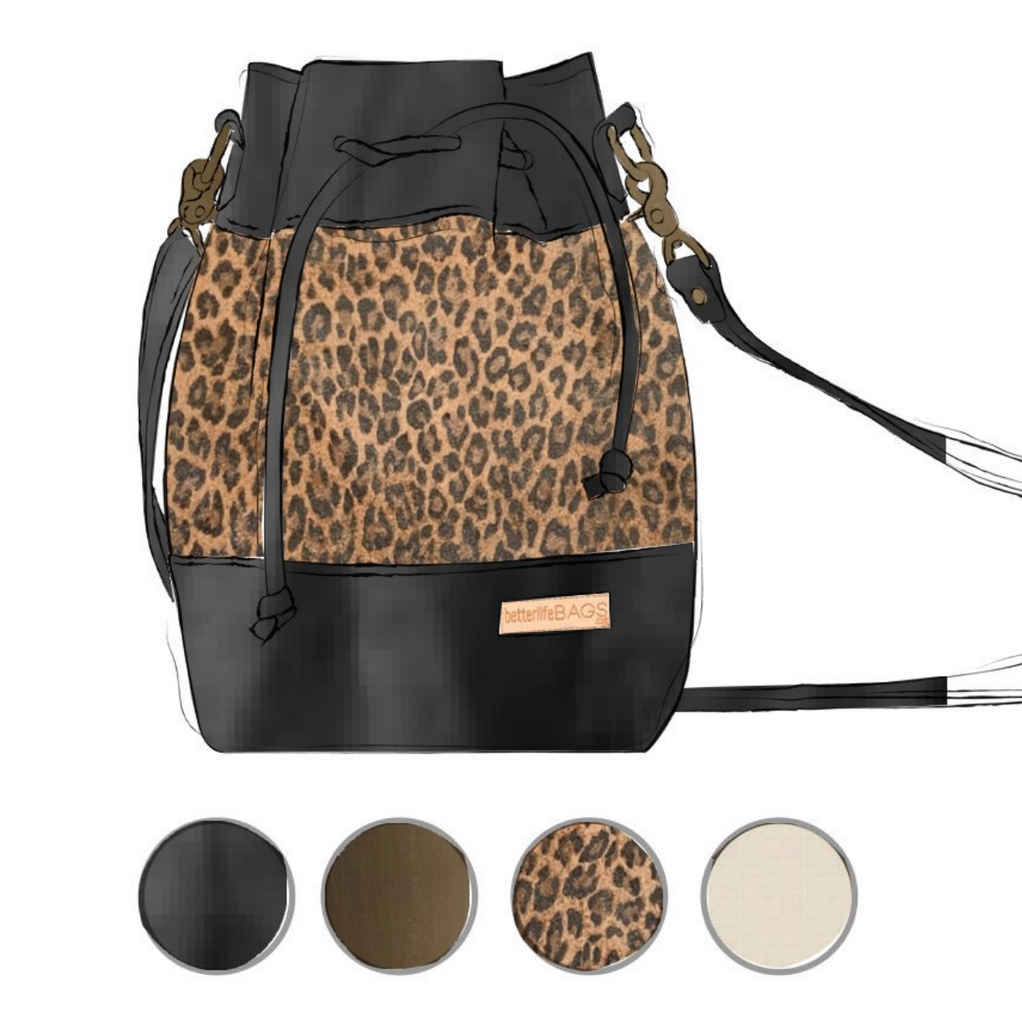 Heather - Leopard and Black Leather (Ships by 6/29)