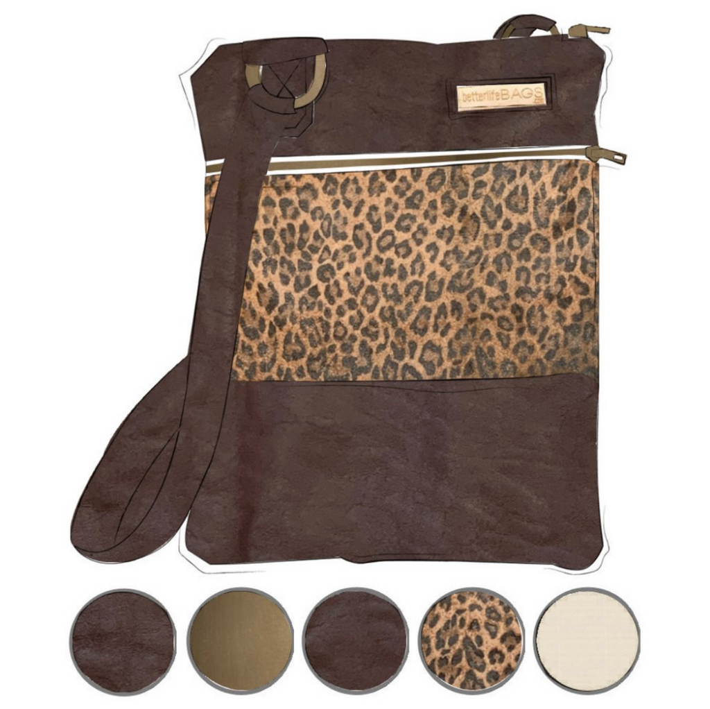Mini - Leopard and Dark Brown Leather (Ships by 6/22)