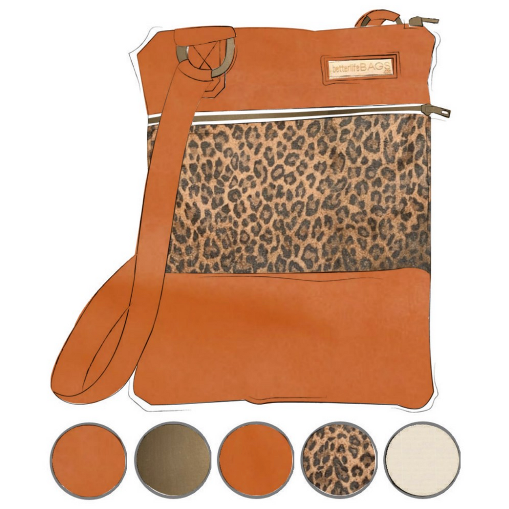 Mini - Leopard and Cinnamon Leather (Ships by 6/22)