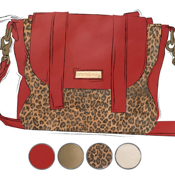 Scout - Leopard and Smitten Red Leather (Ships by 6/22)