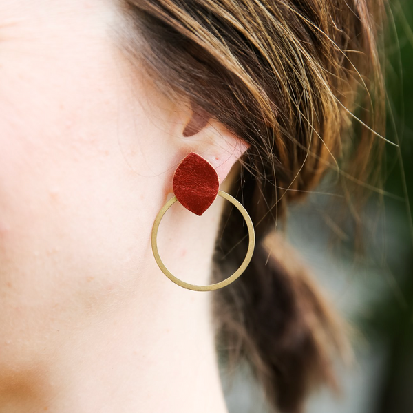 Reese Earring - Camel Leather