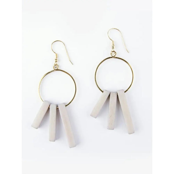 Hoop Block Grey Earrings