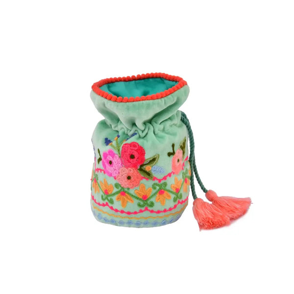 Embroidered Draw String Pouch - Teal Velvet