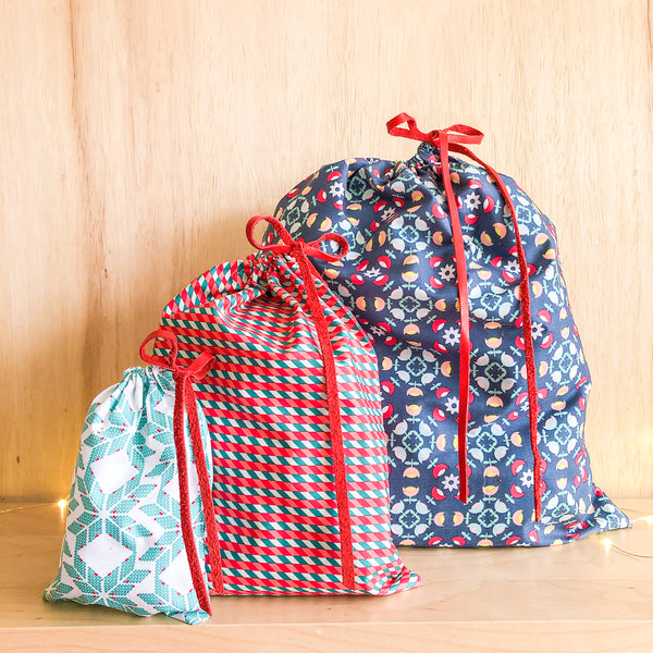 Set of 3 Reusable Gift Bags - Red, Green, + Navy