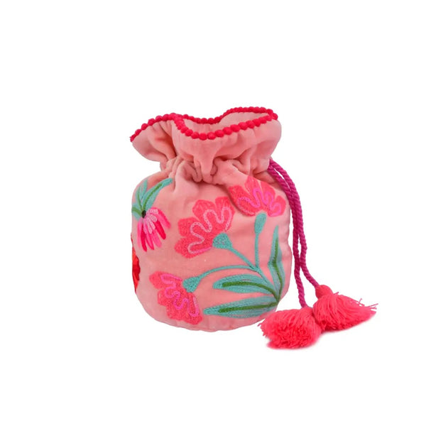 Embroidered Draw String Pouch - Pink Velvet