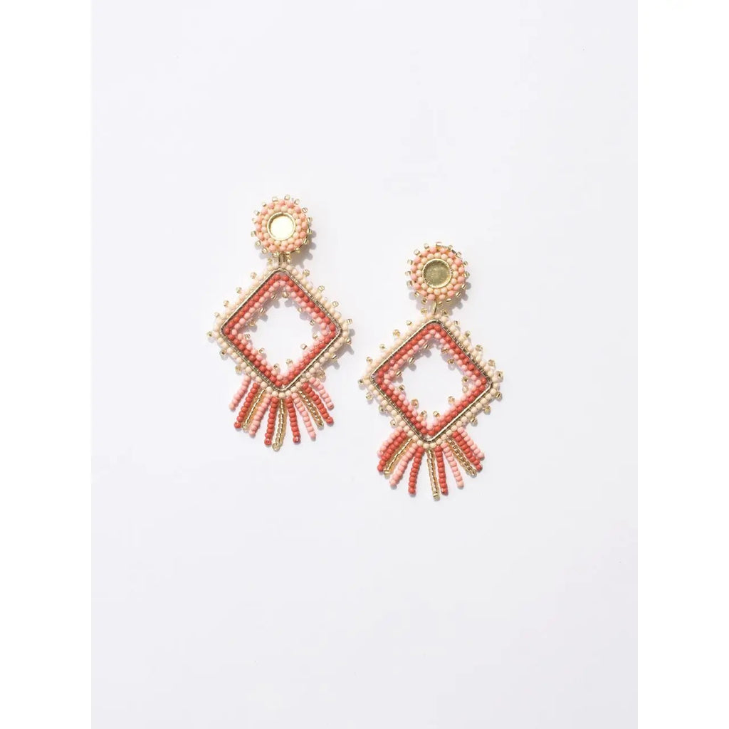 Chelsea Beaded Earrings Rose