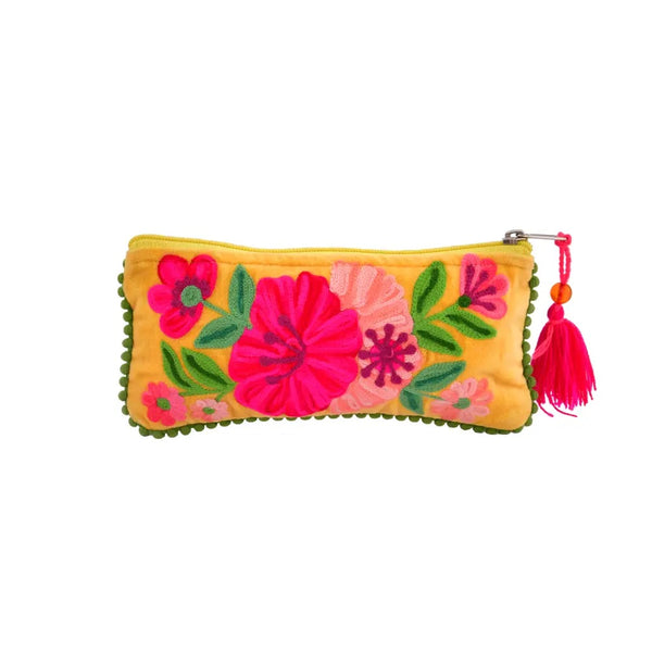 Embroidered Jewelry Pouch - Yellow Velvet
