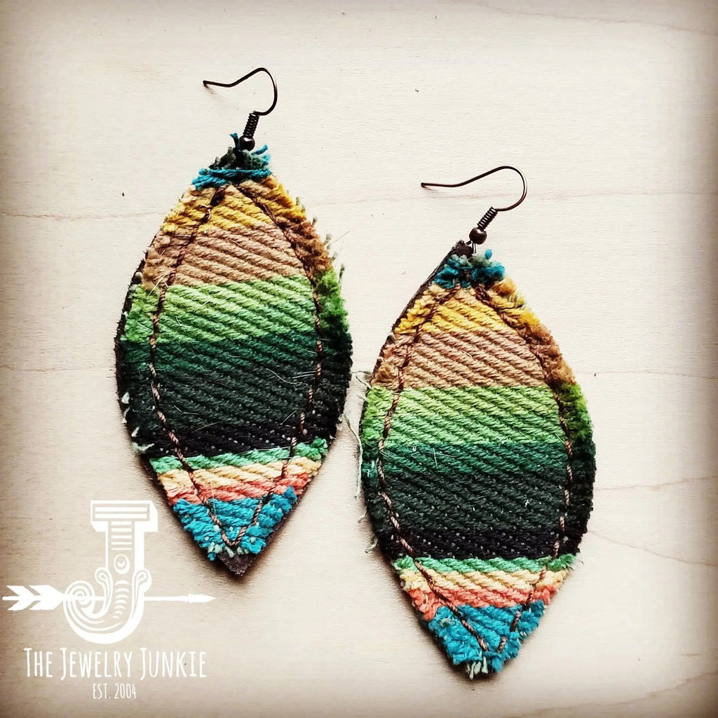 Frayed Serape Earrings with Suede Backing - Turquoise