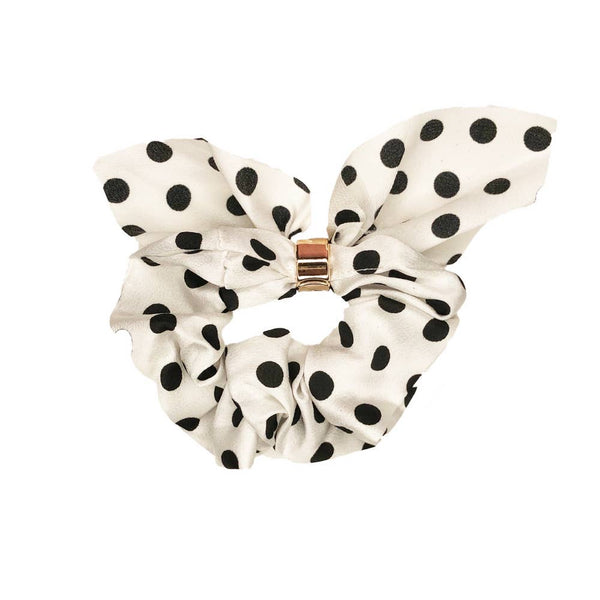 White Polka Dot Tie Scrunchie