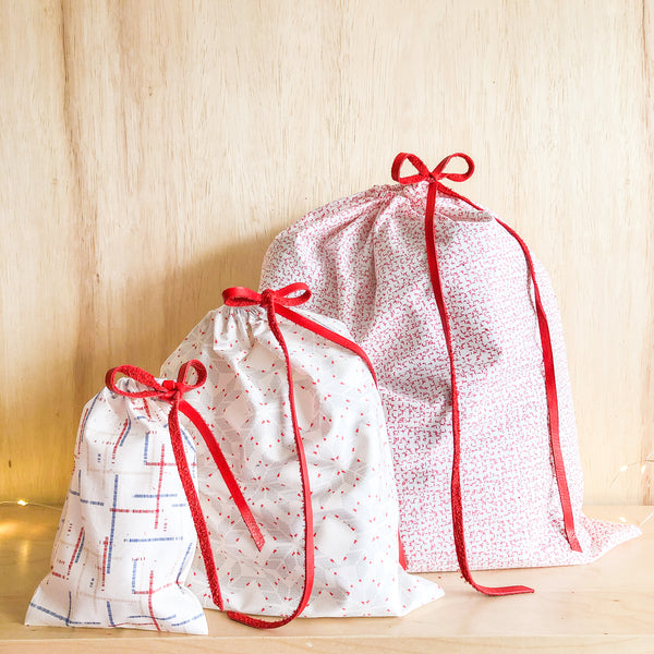 Set of 3 Reusable Gift Bags - White + Red