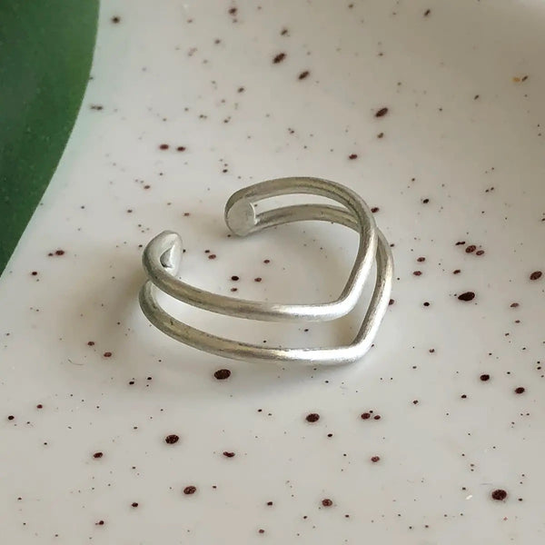 Double V Ring - Silver