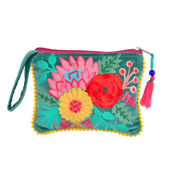 Embroidered Jewelry Pouch - Emerald Velvet