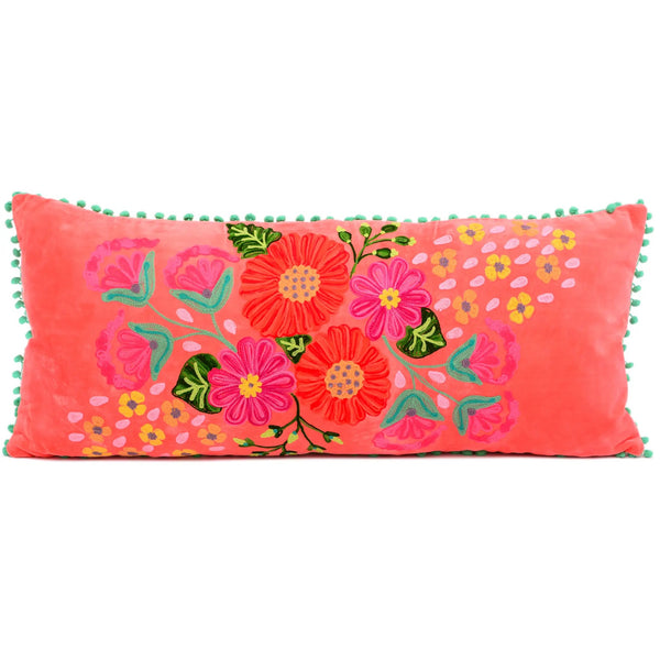Embroidered Lumbar Pillow - Coral Velvet